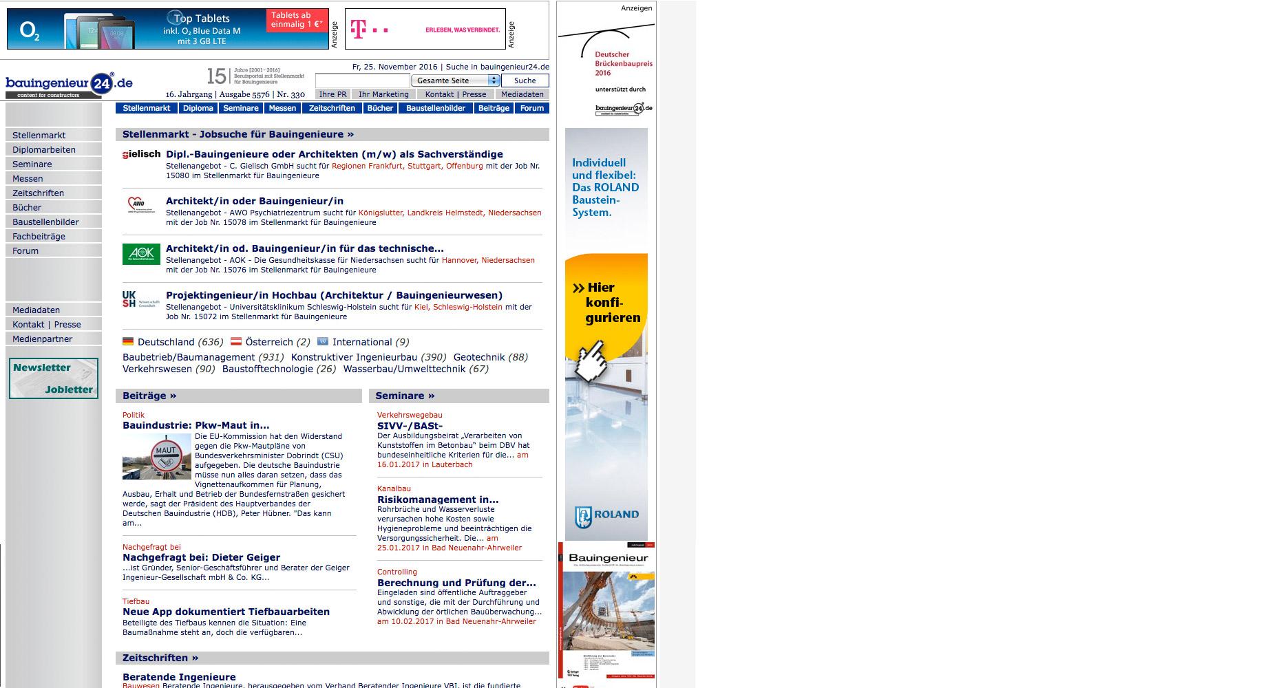 Screenshot von Webseite bauingenieur24.de