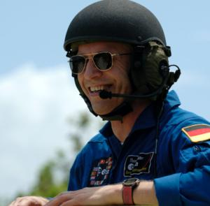 ESA astronaut Thomas Reiter takes his turn driving an M-11